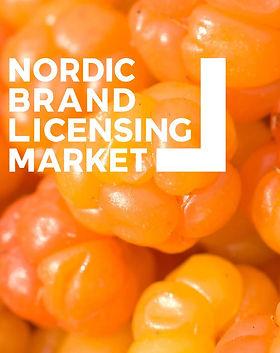 Nordic Brand Licensing Market logo, jonka taustalla valokuva lakoista.
