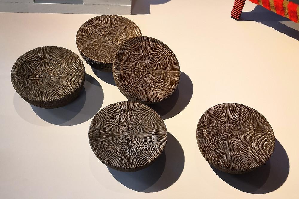 Round, woven baskets