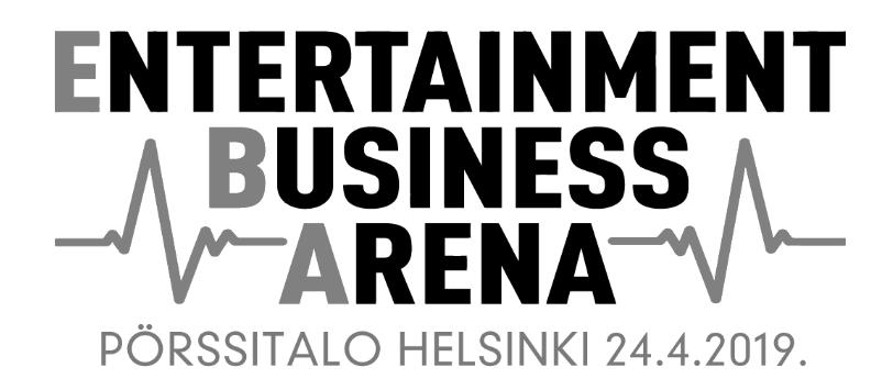 """Entertainmen Business Arena -logo, jonka alla teksti """"Pörssitalo Helsinki 24.4.2019"""""""