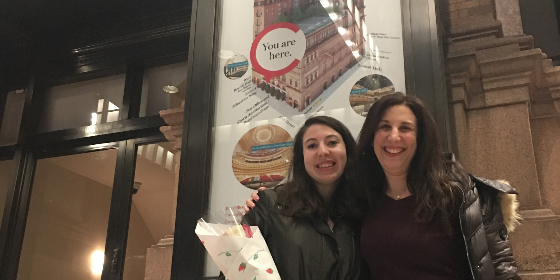 Arielle and Pam Belluck at Carnegie Hall