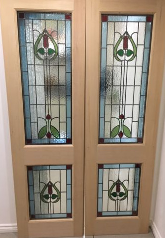 Stained Glass External Double Doors Hardwood