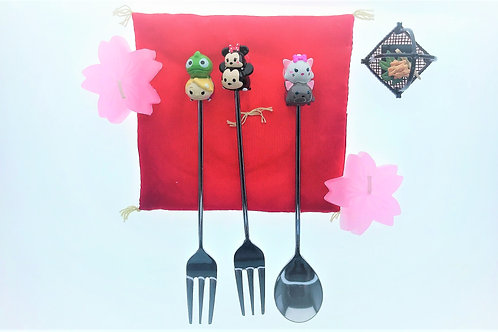 Kitchen Cutlery Homeware - Mickey / Marie Cat / Rapunzel Tsum Tsum Spoon & Fork