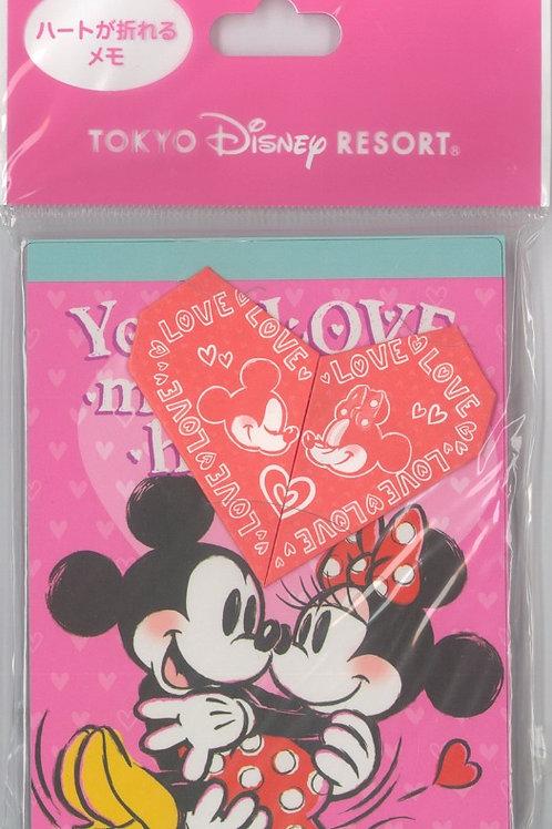 Tokyo Disney Exclusive :  Mickey & Minnie folding Origami Valentine Memo Pad