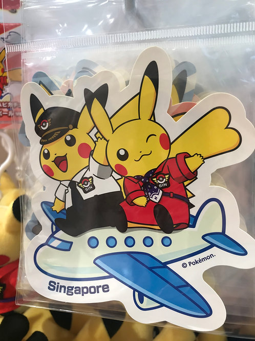 Pokemon [PO]- - Singapore Exclusive Pikachu  Pilot and Cabin Attendant Sticker