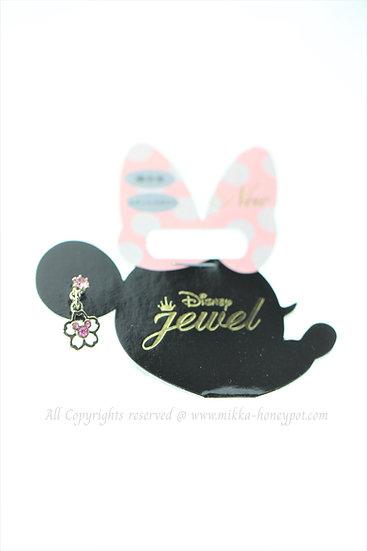 Single Design Earring Collection : Mickey Sakura Pink Shiny Diamond Earring