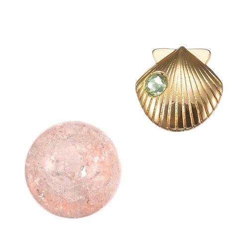 Single Earring series -  Reversible Ariel Seashell