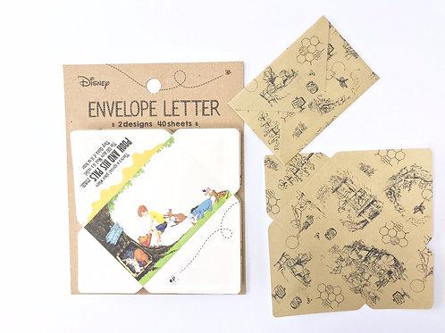 Memo Pad Series : Winnie The Pooh Envelope Letter Tokyo Disneyland Memo Set
