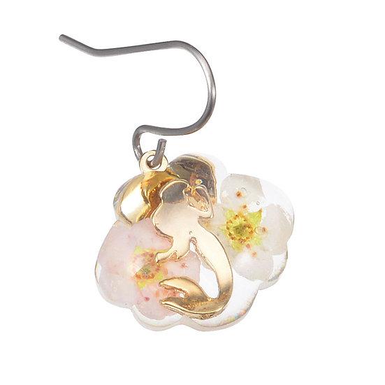 Single Design Earring Collection : Little Mermaid Pressed Flower Heart Earring