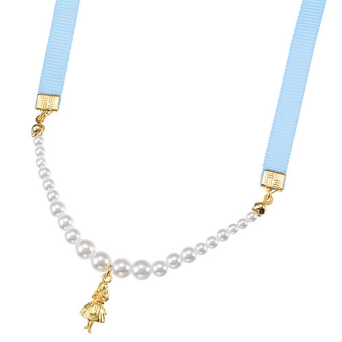 Necklace Series - Pearl Fantasy Alice in wonderland Ribbon Necklace