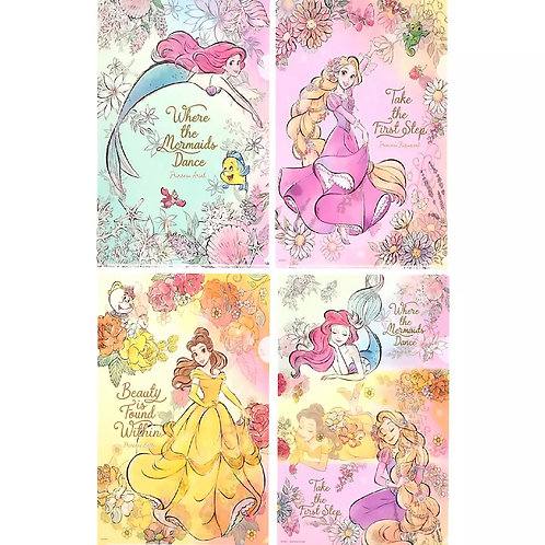 File Collection - Disney Princess Cheerful Dance Clear File  ( 4 pc set )
