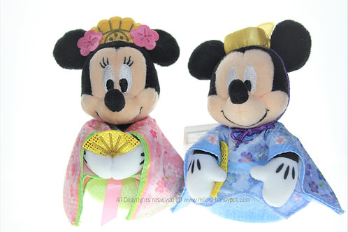Plushie Keychain Collection - Japan Kokeshi Mickey & Minnie 2019 Sakura Plushie