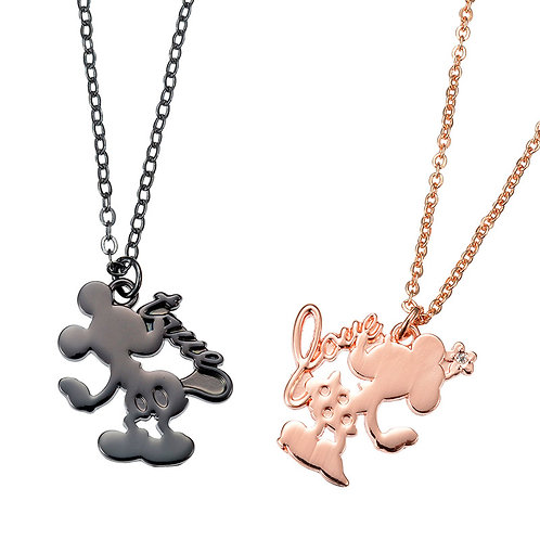 Mickey & Minnie Couple Love Silhouette Necklace