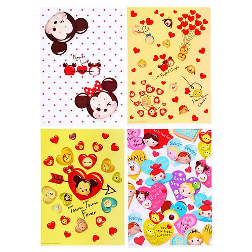 File Collection -- Disney Tsum Tsum Mickey & Friend Valentine File Set (4pc)