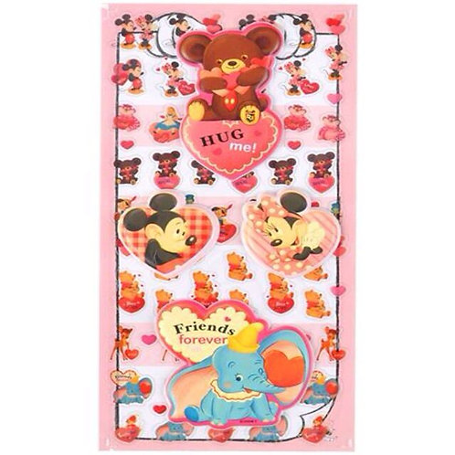Long Pack Sticker Collection -Valentine Mickey & Friend  2 PC Decoration Sticker