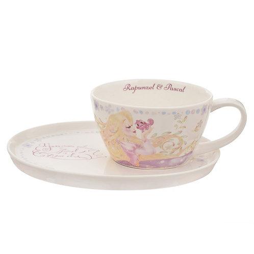 Mug Series : Pink Ribbon Princess Rapunzel & Pascal cafe cup set