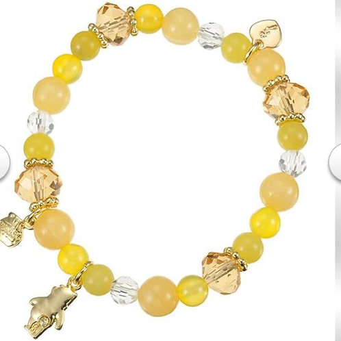 Natural Stone Series : Winnie the Pooh Yellow Natural Stone Bracelet ( Wealth )