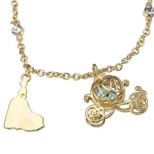 Crystal Stone Necklace series -  Cinderella & carriage crystal stone necklace