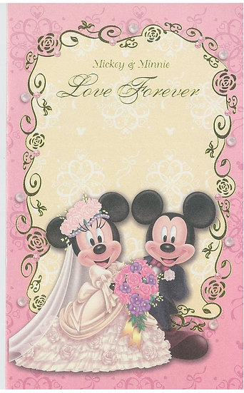 Post Card / Greeting Card Series - Wedding Pink Mickey & Minnie