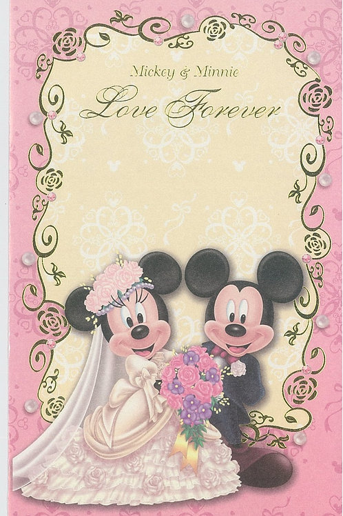 Post Card / Greeting Card Series - Wedding Pink Mickey & Minnie