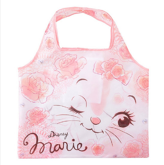 Eco Foldable Tote Bag Collection : Marie Cat Flower Tote Bag
