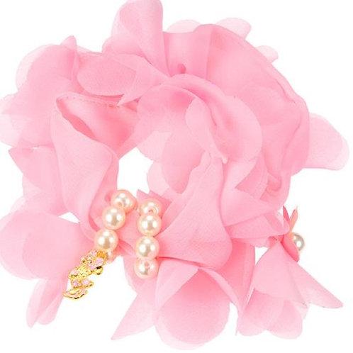 Scrunchie Hair Decoration : Minnie Pink Pearl Flora Scrunchie