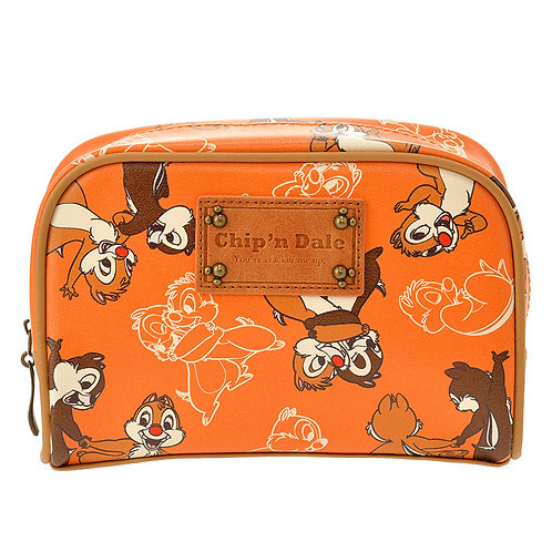 Make-up Pouch Collection : Leather Retro Chip & dale Makeup Pouch