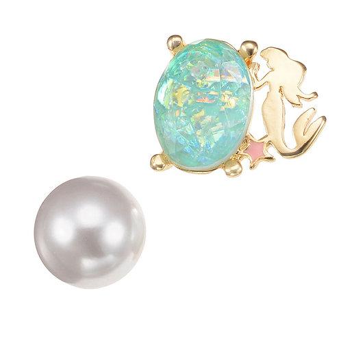 Single Earring Collection : Reversible Little Mermaid Ariel Diamond Shiny Pearl