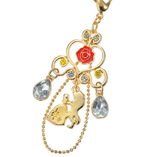 Disney Handphone Strap : Shara Shara Beauty and the beast Rose of Classic Scene