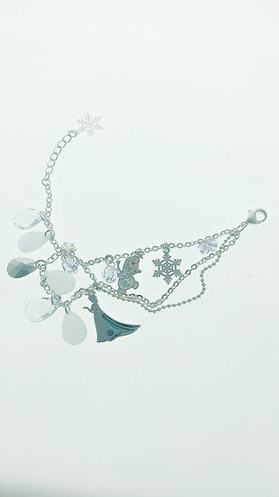 Bracelet series :  Frozen Elsa & Olaf Snowflake Blue Crystal Stone Bracelet
