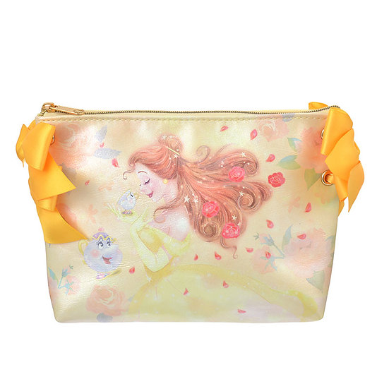 Make-up Pouch Collection :Beauty & The Beast Bella Pink Ribbon Pouch
