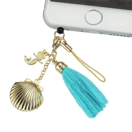 DUST PLUG - Little Mermaid Seashell Charm Dust Plug Keychain