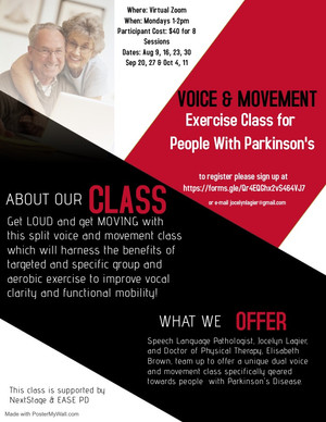 Voice & Movement Exercise Class for People with Parkinson's - starting August 9th 2021