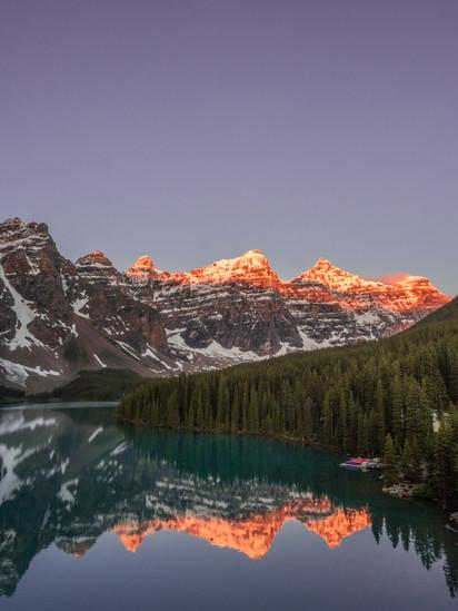 Moraine Lake - pink tips