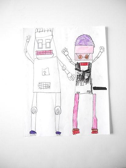 girls tech steam workshop robot drawing