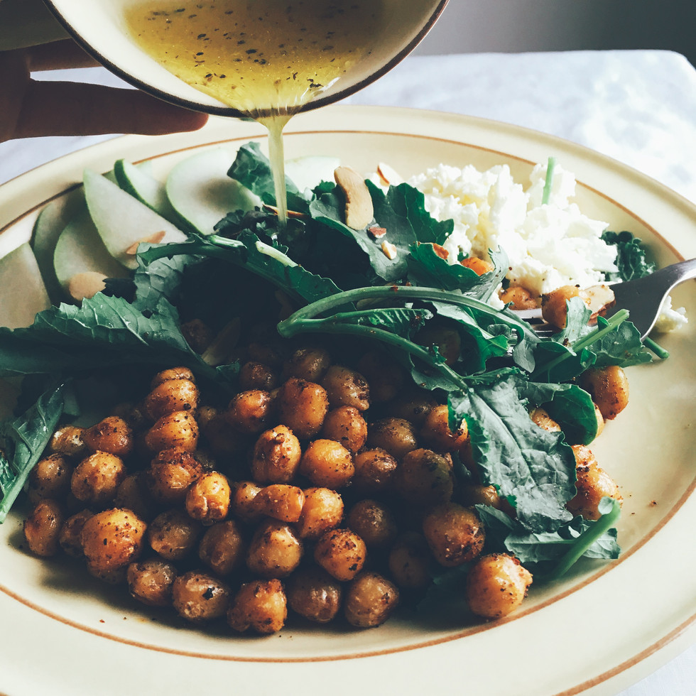 Baby Kale Salad with Warm Chickpeas and Lemon-Honey Dressing