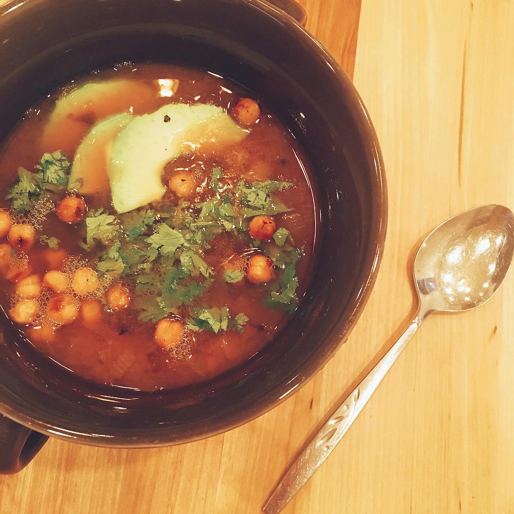butternut squash soup, chickpeas, shove it in your pie hole