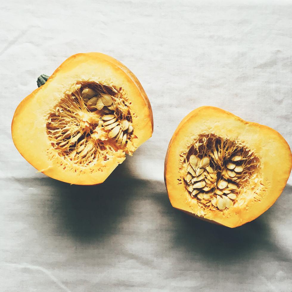Acorn Squash Smiles with Lentils