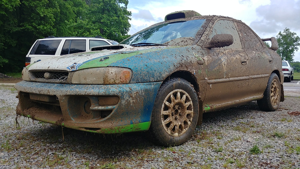 Skelly's new car muddied up at Hyperfest 2018