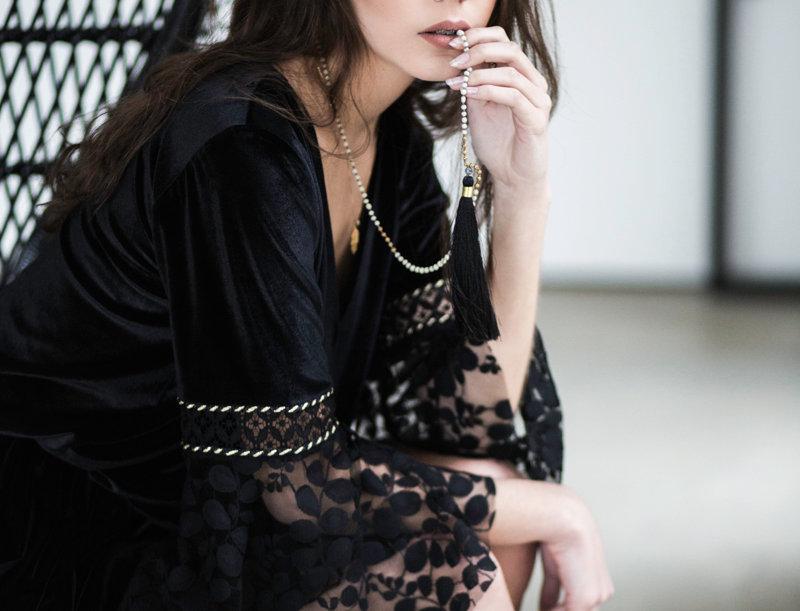 Azura Velvet and Lace Dress