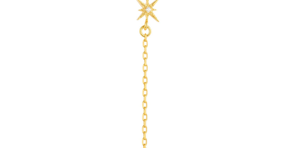 North Star Burst Mini Drop Necklace Gold