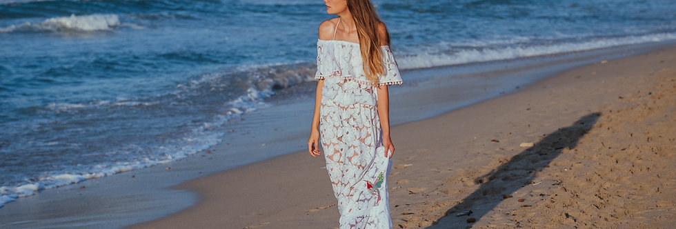 Hummingbird lace maxi dress