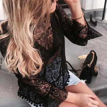 Emroidered lace Deia top in black