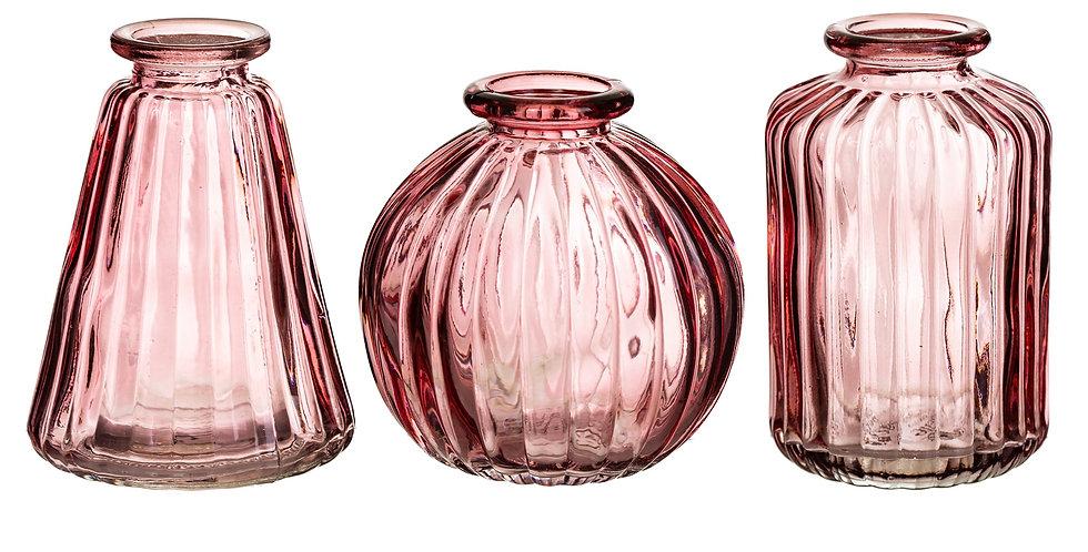 Pink Glass Bud Vases  - Set of 3