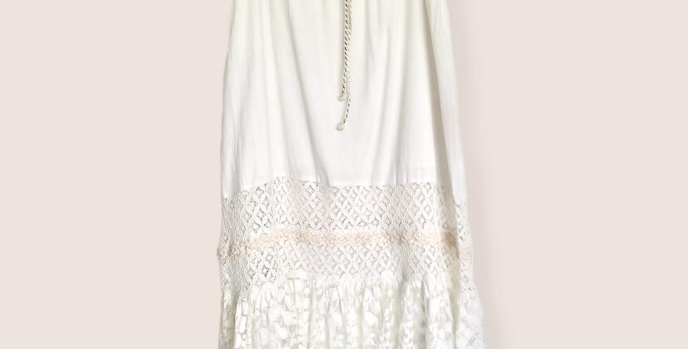 Feather midi skirt