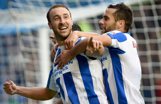 Brighton's Glenn Murray celebrates his hatrick against Norwich 2016
