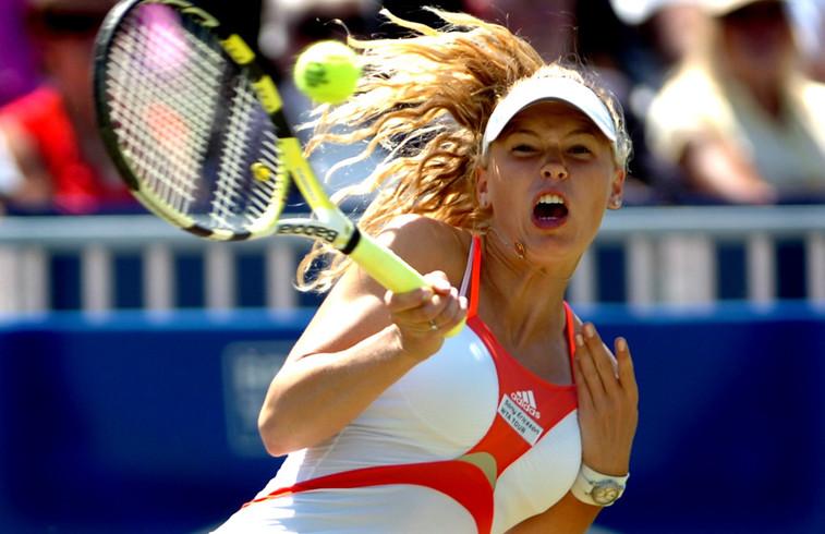 Caroline Wozniacki in action at Devonshire Park