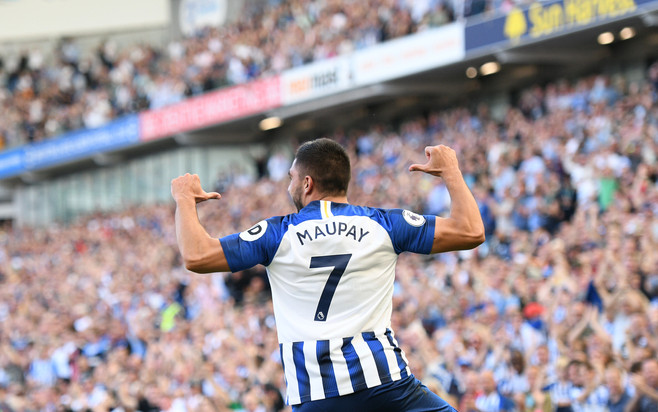 Brighton's Neal Maupay celebrates a goal against Burnley at The Amex, 2019