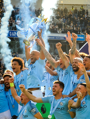 Manchester City are crowned Premier league Champions at The Amex, 2019