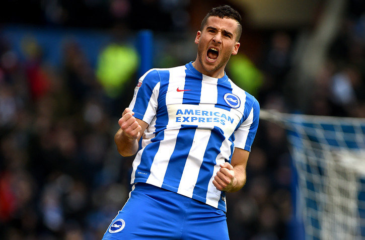 Brighton's Tomer Hemed celebrates after a goal