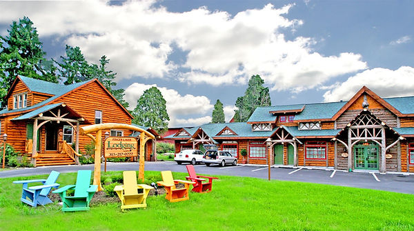 Main entrance with Adirondack chairs at our Finger Lakes Lodging location.
